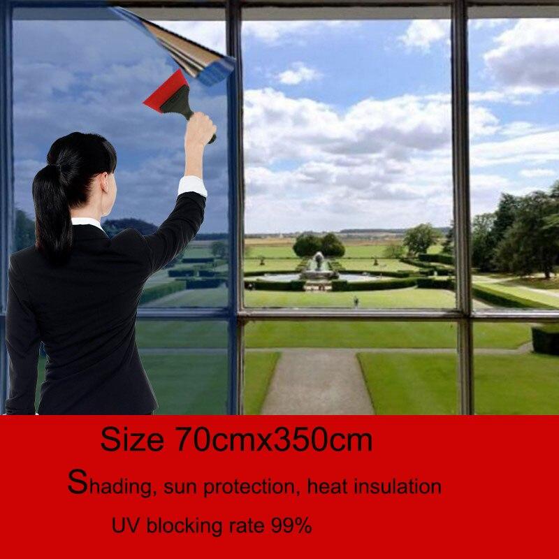 0,7x3,5 m espejo calefacción película de vidrio reflectante anti uv color de plata solar película de la ventana manchada Oficina raamfolie película solar