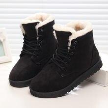 f8deabfc Женские зимние ботинки, Теплые ботильоны, плюшевые, на шнуровке, большие  размеры, Женская замшевая обувь на плоской подошве, чер.