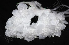 цена на Venice Mask Masquerade masks for male and female plumage flower princess lace full face mask white gold powder terror
