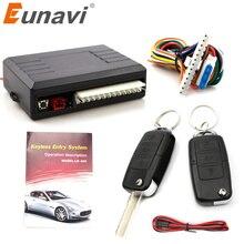 Eunavi Универсальная автомобильная сигнализация, автоматический дверной пульт дистанционного управления, центральный замок с блокировкой, без ключа, светодиодный брелок, центральный комплект, дверной замок