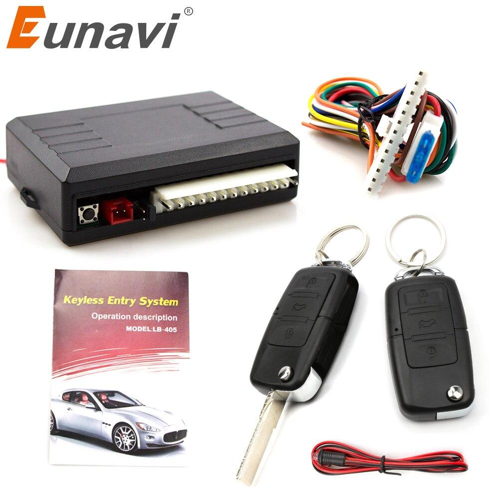 Eunavi universal sistema de alarme do carro porta automática controle remoto central bloqueio keyless led chaveiro kit fechadura da porta central
