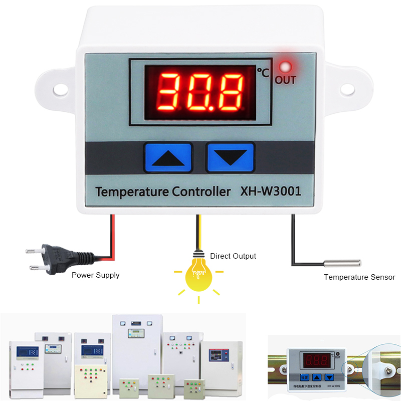 10A 12V 24V 220VAC Digital LED Temperature Controller XH-W3001 for Arduino Cooling Heating Switch Thermostat NTC Sensor ac 110 220v 10a digital led temperature controller xh w3001 cooling heating switch thermostat with ntc sensor for arduino