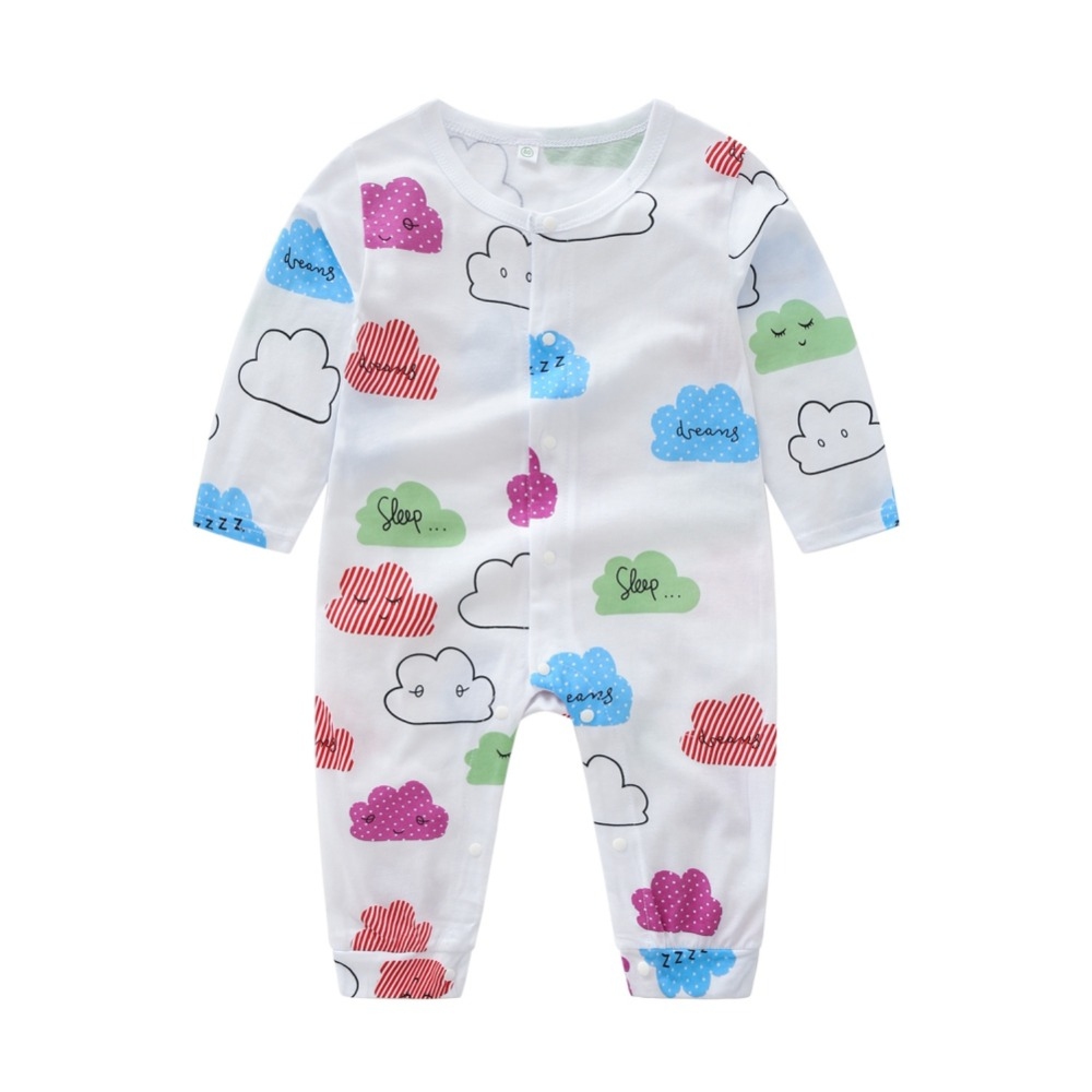все цены на Baby Rompers Cotton Clothing Printed Cloud Fashion Romper White Long Sleeve O-neck Clothes Boys Girls