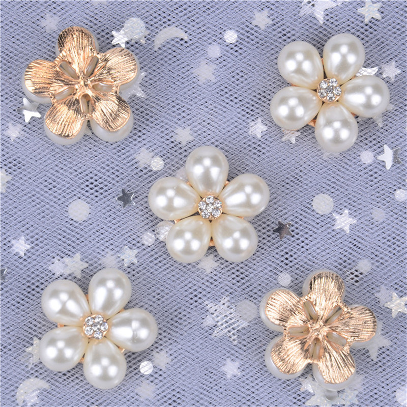 10pcs Silver Flower Pearl Crystal Shank Buttons Embellishment Sew Craft 22mm