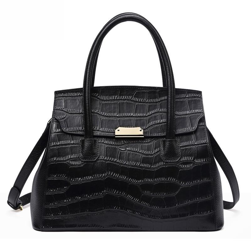 2018 new crocodile pattern leather handbags handbag fashion wild Europe and America big bag Messenger цена и фото