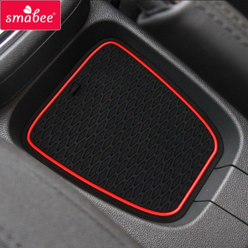 Porta entalhe almofada para volkswagen polo polo gti 2011-2017 esteiras de poeira água coaster antiderrapante esteiras vermelho azul branco