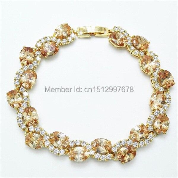 Nouveau 2015 Dame de! péridot Bracelet et Bracelet! or couleur Champagne  cubique zircone, bijoux de mode Livraison gratuite f81e3838e41c