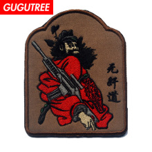 GUGUTREE embroidery HOOK&LOOP patch ghosts and gods patches badges applique for clothing AD-246