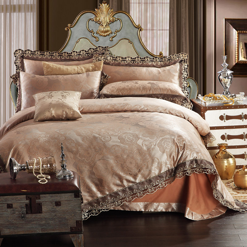 modal cotton lace floral champagne jacquard quilt king queen duvet cover set with 1 flat sheet. Black Bedroom Furniture Sets. Home Design Ideas
