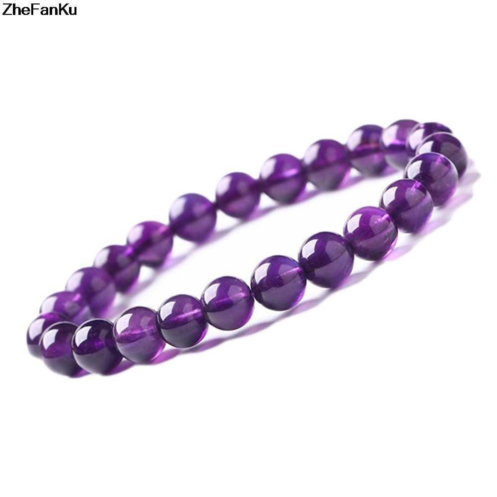 Hurtownie dobrej jakości 8 Mm okrągły kształt fioletowy kamień kwarcowy bransoletka kobiety zroszony bransoletka Stretch