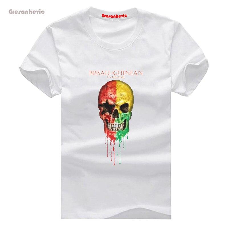 ᗚGuinea-bissau bandera cráneo hombre Camiseta de algodón o ...