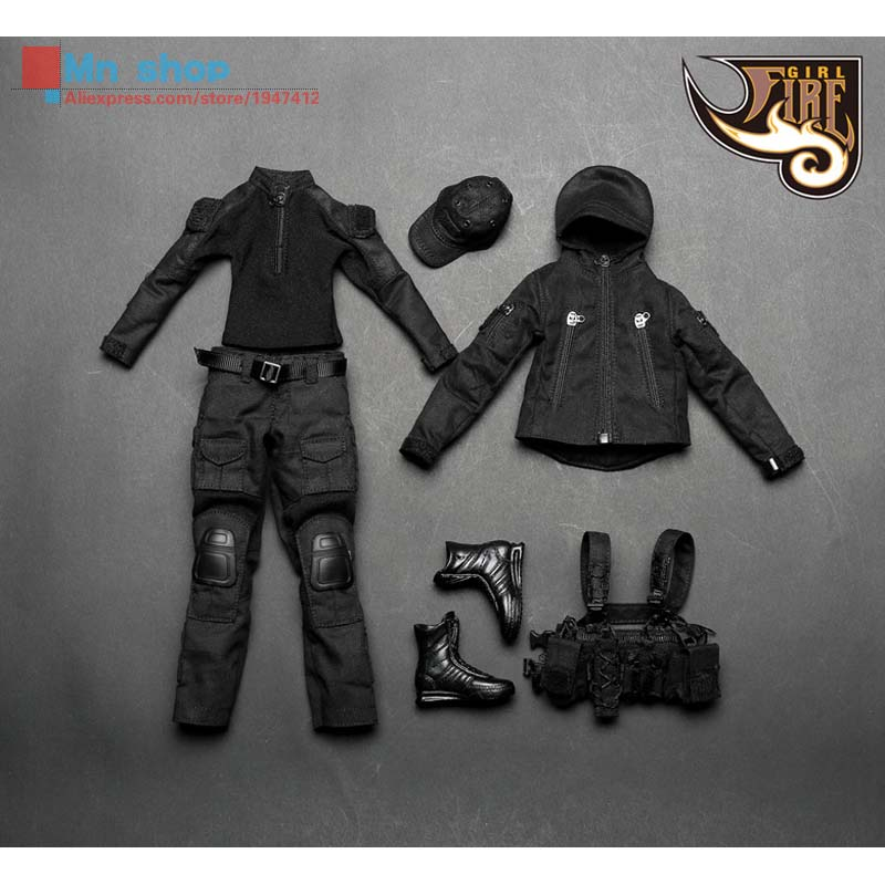 ФОТО Fire Girl Toys 1/6 FG001 Clothes Accessories Dark Night Female gunman Clothing Suits for Female Seamless Body Middle Bust Toys
