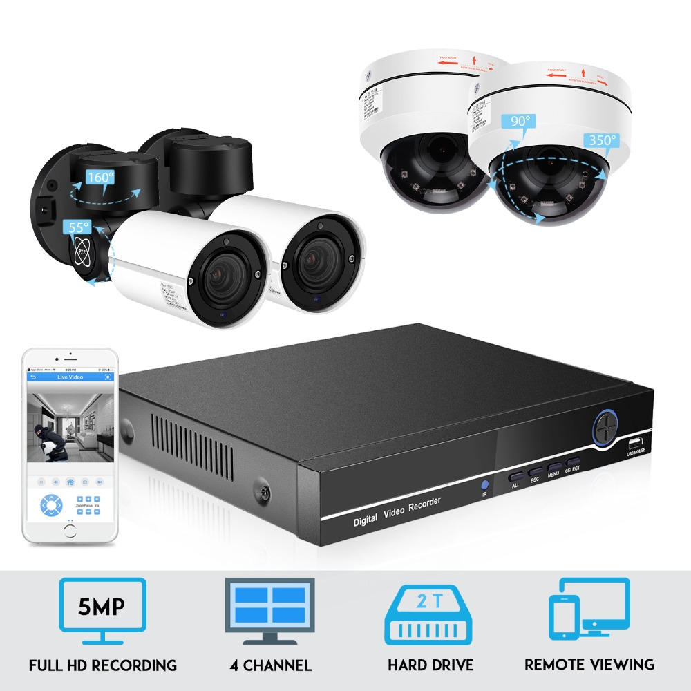 BESDER 5MP PTZ IP Camera 4CH Kit CCTV 4X Zoom H.265 48V POE NVR System IP66 Outdoor Weatherproof Video Security Surveillance image