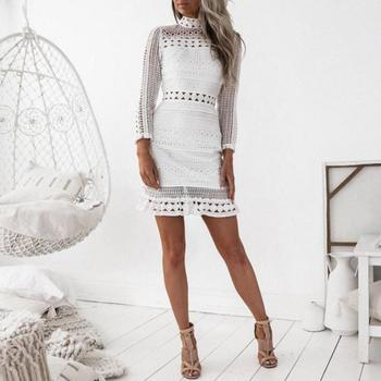 Summer Dress Womens Sexy Club Dress White Embroidery Floral Celebrity Zippers Dress Long Sleeve Slim Hollow Lace Dress