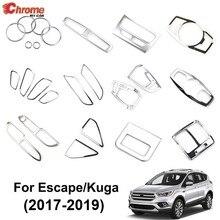 Para ford escape kuga 2017 2018 2019 chrome painel interruptor de luz ac ventilação ar capa alça guarnição decoração estilo do carro acessórios