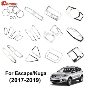 For Ford Escape Kuga 2017 2018 2019 Chrome Light Switch Panel AC Air Vent Cover Handle Trim Decoration Car Styling Accessories(China)