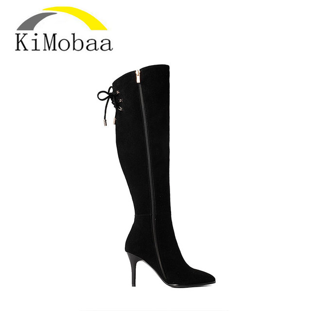 Kimobaa Hot Sale Long Boots Women Shoes Pointed Toe Black Genuine Leather+Flock Lace up Boots Size 33-39 Zip Ladies Boots TX26