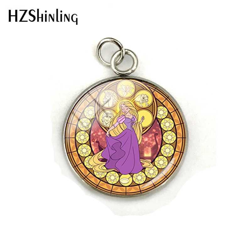 Новая мода Рапунцель Принцесса Круглые Подвески стеклянный кабошон ручной работы принцесса искусство фото очаровательыне нержавеющие ювелирные изделия