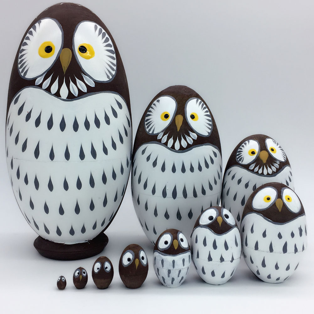 Kids Toy 10 Layers Nesting Dolls Wooden Cute Owl Painted Russian Doll Matryoshka Hand-painted Toys Home Decoration Gifts YH-17 jennifer taylor home sofa bed hand tufted hand painted and hand rub finished wooden legs 65000 584 859 865