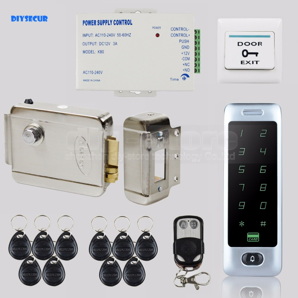 DIYSECUR Electric Lock RFID Reader Touch Panel Password Keypad Door Access Control Security System Kit C40 diysecur electric lock waterproof 125khz rfid reader password keypad door access control security system door lock kit w4