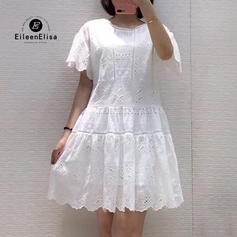 Summer White Dress with Flowers 2019 New Arrival Floral Embroidered Dress Mini A line Dress with O neck Collar