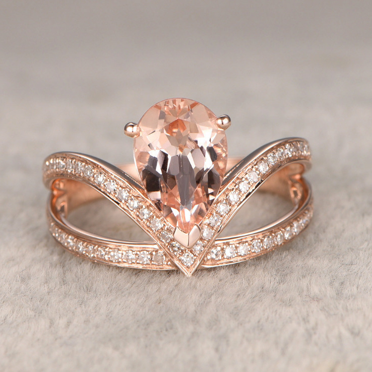 Ring For Women 7x10mm 2CT Pear Shaped Morganite Engagement Ring 14k Rose Gold White Topaz Side
