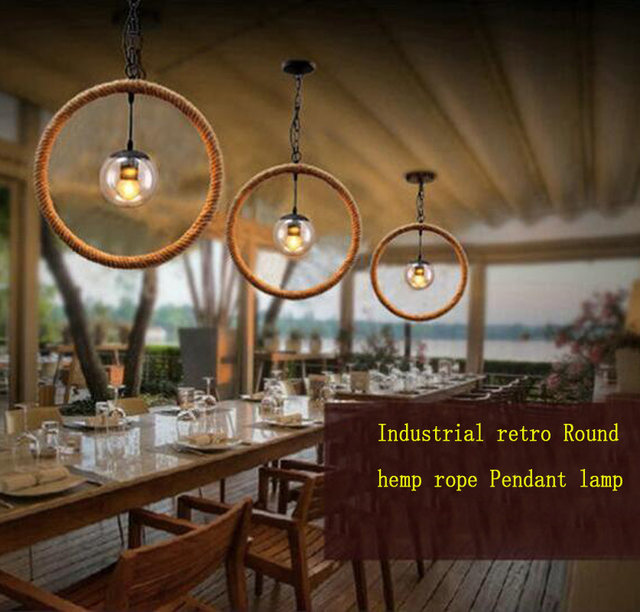 Online shop vintage circle hemp rope iron pendant lights american vintage circle hemp rope iron pendant lights american country retro cafe restaurant bar industrial pendant lamp with led 6w bulb aloadofball Gallery