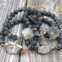 YA3840 геодные Агаты Друза камень кварц стрела соединитель черный лабрадорит камень эластичный браслет