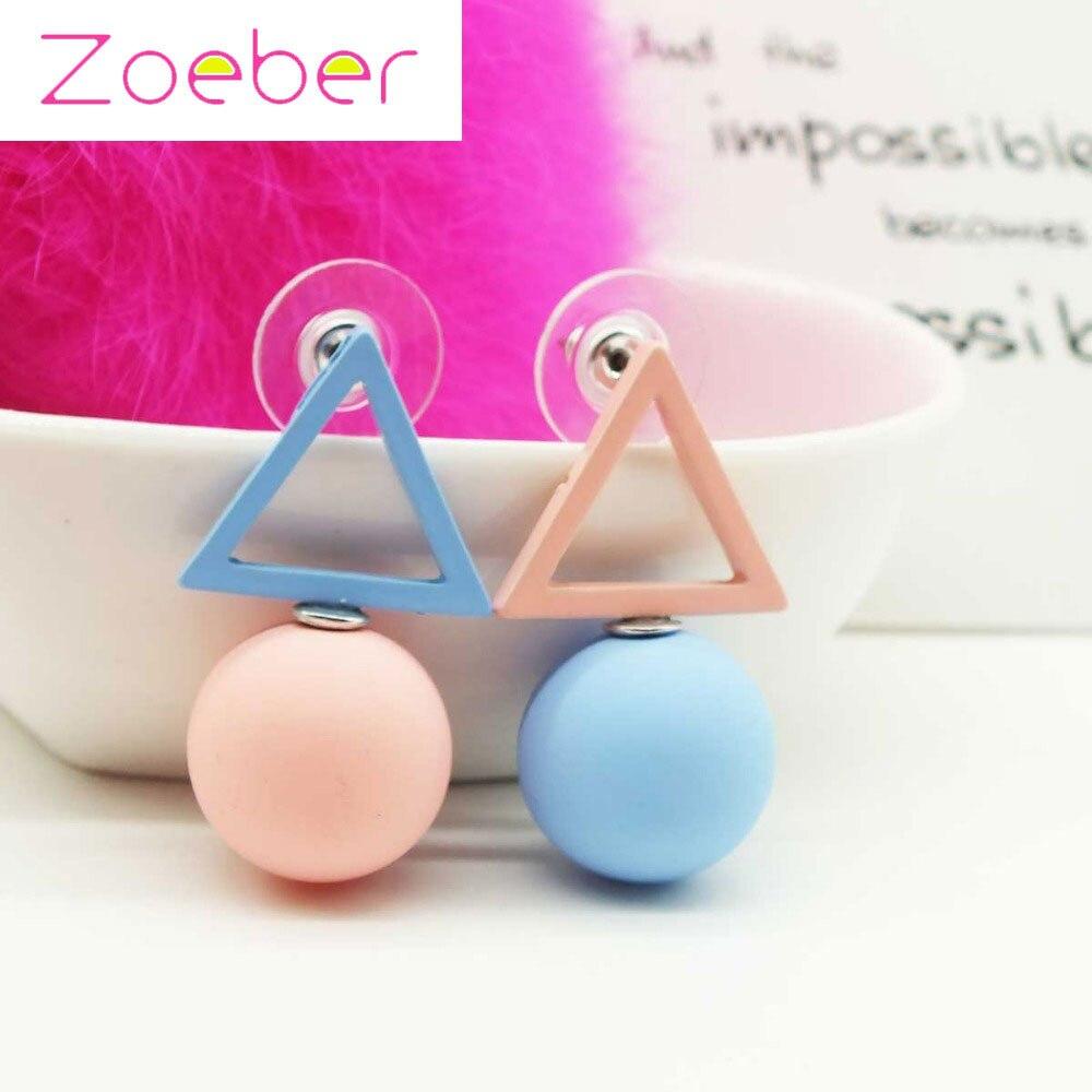 Zoeber Fashion Color Triangle Geometry Stud Earrings Women Ear Cuff  Circular Triangle Jewelry Bijoux Femme Pattern