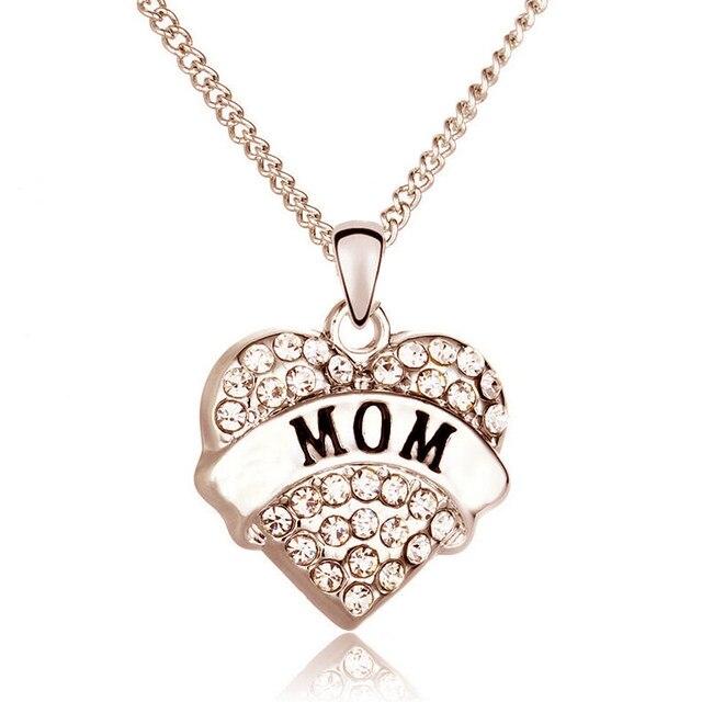 97239faa90 Online Shop Cheap Love Heart Necklace Women DIY Crystal Mother Mom ...