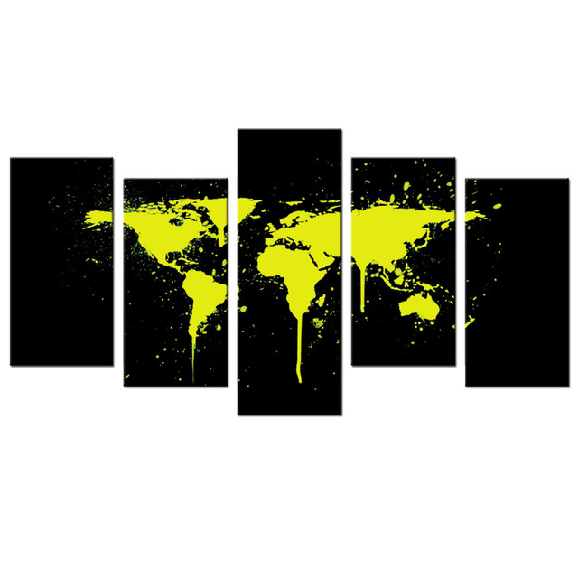 Contemporary art abstract paintings yellow splashes world map poster contemporary art abstract paintings yellow splashes world map poster prints yellow over a black background canvas gumiabroncs Gallery