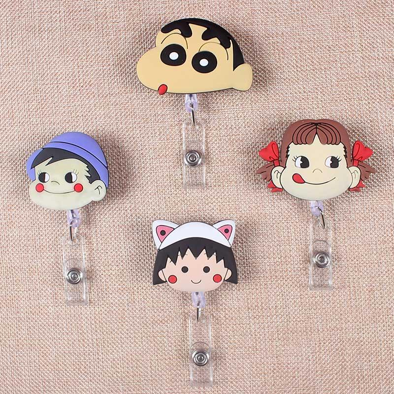 Creative Cartoon Cute GirlBoy Retractable Plastic Badge Holder Reel Exhibition ID Enfermera Name Card Hospital Office Chest Card