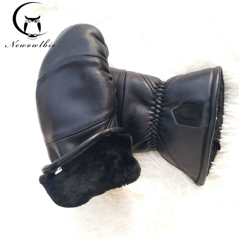 Men Leather Gloves Sheepskin Boxing Gloves Bending Outdoor Thicken Warm Winter Gloves Double Warm Sport Gloves Oversized Size