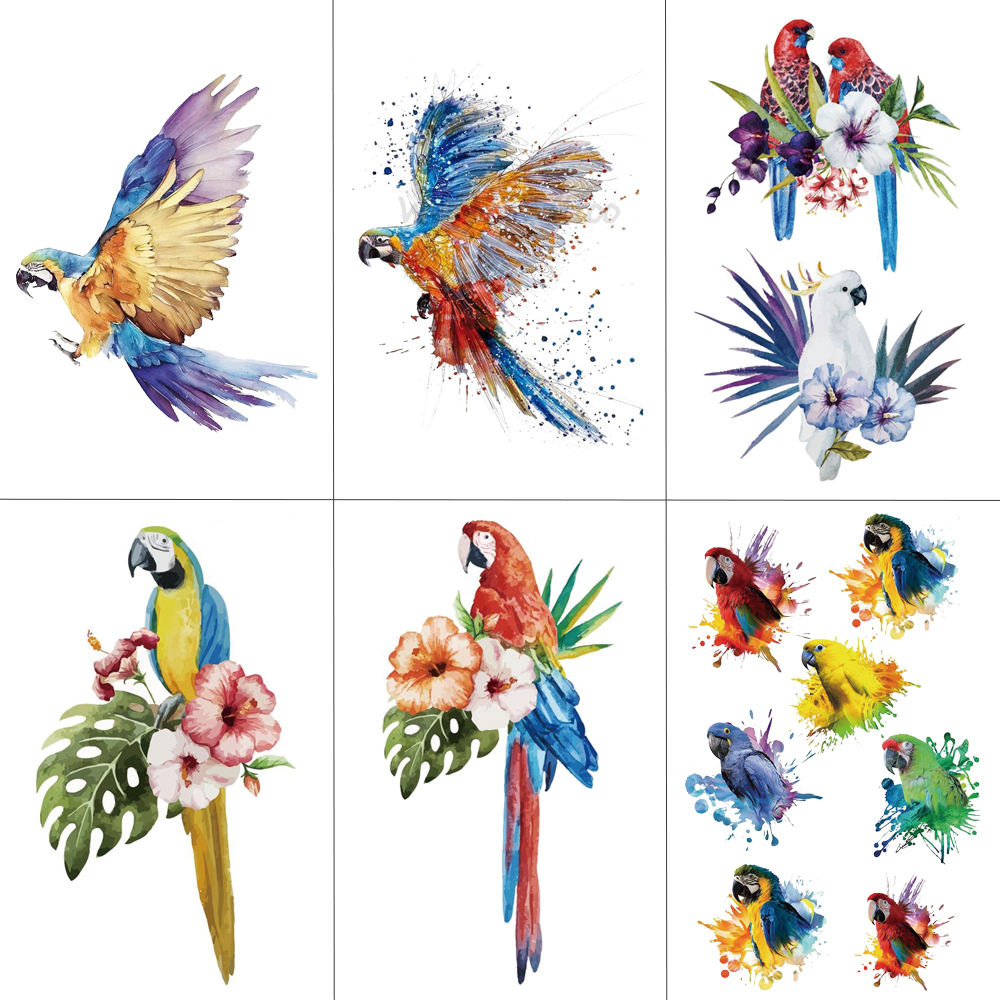 HXMAN Parrot Temporary Tattoo Sticker For Kids Hand Body Art Bird Hot Design Fake Women Waterproof Tattoo Paper 9.8X6cm A-062