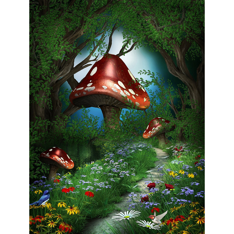 5x7ft fairy tale mushroom forest children baby computer painted scenic photography background. Black Bedroom Furniture Sets. Home Design Ideas