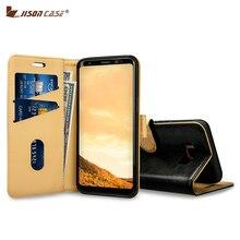 Jisoncase случай кожаный бумажник для Samsung Galaxy S8 чехол из натуральной кожа магнит смарт откидная крышка телефон samsung s8 5.8″