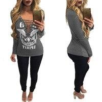 Adogirl Long Sleeve Lace Up T Shirt Women Fashion Deep V Neck Rivet Criss Cross Letter