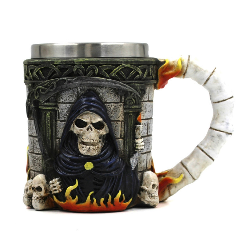 US $16 99 15% OFF|3D Horror Grim Reaper Skull Mugs Stainless Steel Coffee  Tea Milk Bottle Double Wall Gothic Grim Reaper Drinking Mug Cup-in Mugs  from