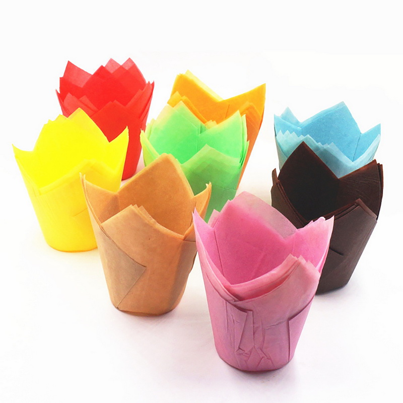 IVYSHION 50Pcs Tulip Flower Chocolate Cupcake Wrapper Baking Muffin Paper Liner Mold Disposable Paper Cake Decoration Supplies(China)
