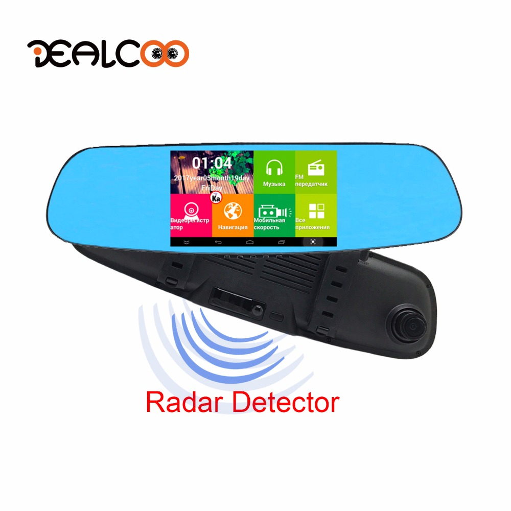 Dealcoo 5.0 IPS Car DVR Radar Detector Digital Video Recorder Mirror Camera Android GPS Navigation Dual Lens FHD 1080P Dash Cam 5 inch car camera dvr dual lens rearview mirror video recorder fhd 1080p automobile dvr mirror dash cam