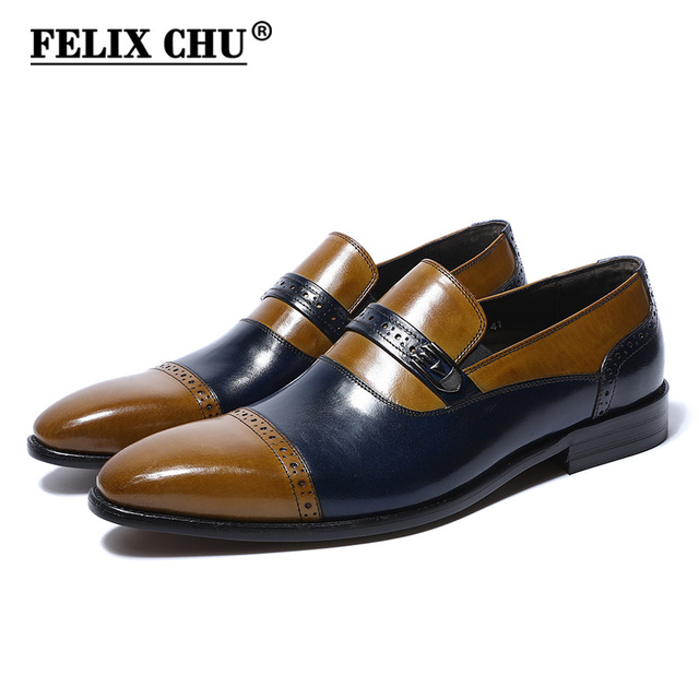 Felix Chu 2018 Luxury Fashion Genuine Leather Men Slip On Dress Shoes Wedding Party Office Blue