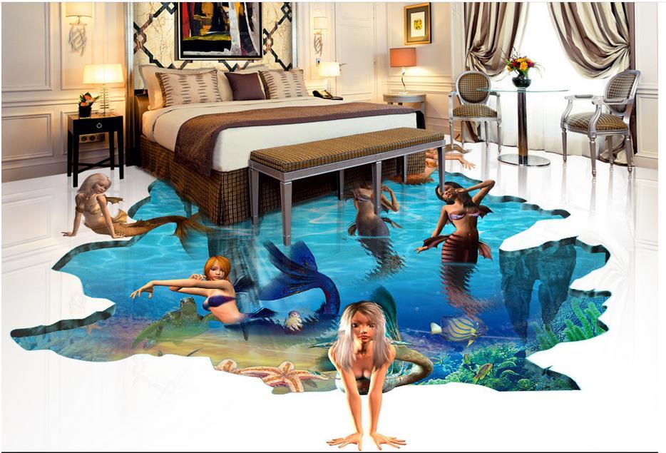 ФОТО customized rolo de papel adesivo 3d floor art Sea World mermaid 3d floor murals Soundproof bedroom wallpaper