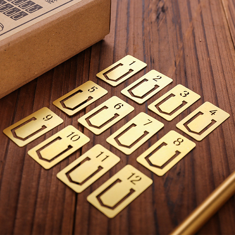 12pcs/Set Vintage Luxury Metal Bookmark For Teacher Gift Brass Number 1 12 Creative Book Mark Clip Office Stationery Supplies