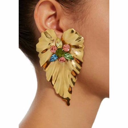 Leaf Big Earrings for Women Gold Color Statement