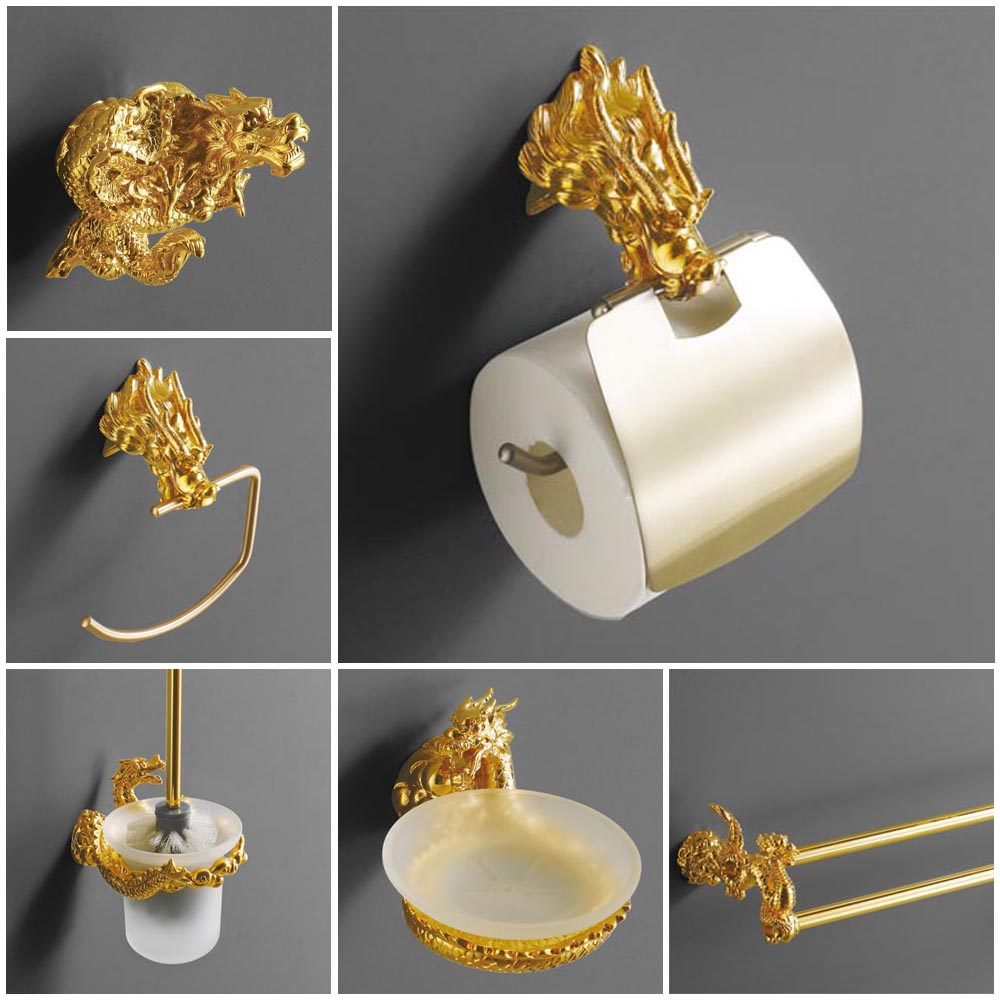 Luxury Wall Mount Gold Dragon Design Paper Box Roll Holder Toilet Gold Paper Holder Tissue Box Bathroom Accessories MB-0959A gold color bathroom toliet tissue paper towel roll holder chinese luxury style 3371901