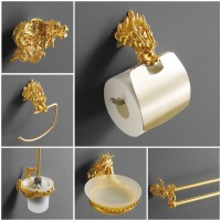 Luxury Wall Mount Gold Dragon Design Paper Box Roll Holder Toilet Gold Paper Holder Tissue Box Bathroom Accessories MB 0950A