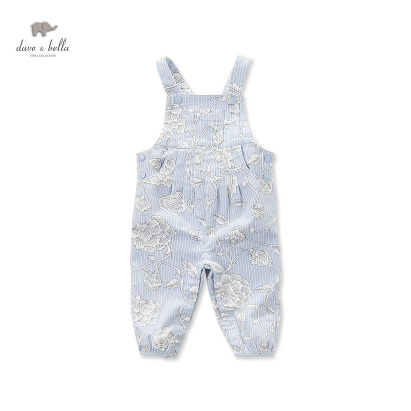 DB3275 dave bella spring autumn toddle overalls baby girls printed cotton overalls infant clothes baby cute overalls