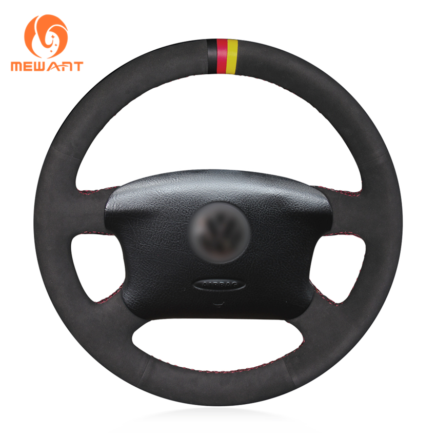 MEWANT Black Suede Car Steering Wheel Cover for Volkswagen Passat B5 VW Passat B5 VW Golf 4