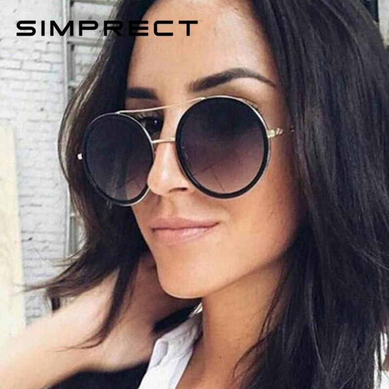 SIMPRECT rétro ronde lunettes De Soleil femmes 2019 marque De luxe Designer miroir lunettes De Soleil De haute qualité Vintage Lunette De Soleil Femme