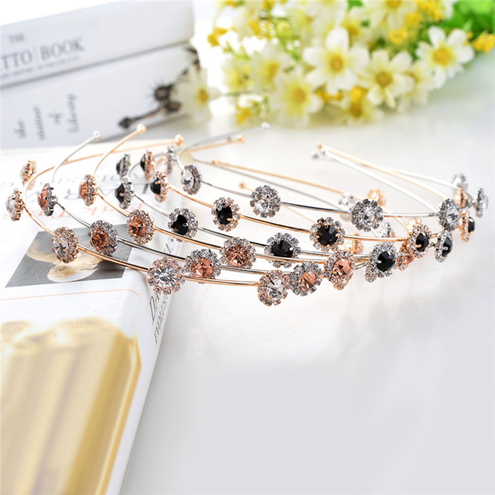 Fashion Women Crystal Flower Headband Shiny Metal Hairband Girl Hair Band Jewelry Female Rhinestone Pearl   Headwear   Hair Hoop